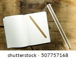 notepad with squared paper ... | Shutterstock . vector #507757168