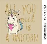 horse unicorn illustration with ... | Shutterstock .eps vector #507757765