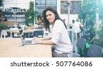 a hipster girl with long dark... | Shutterstock . vector #507764086