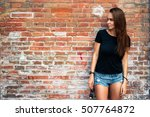 an outdoor portrait of a young... | Shutterstock . vector #507764872