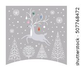 christmas card  christmas deer  | Shutterstock .eps vector #507768472