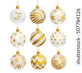 white color christmas balls... | Shutterstock .eps vector #507784126