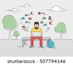 hipster young man is sitting... | Shutterstock . vector #507794146