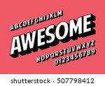 Vector of retro slanted font and alphabet | Shutterstock vector #507798412