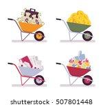 set of wheelbarrows full money  ... | Shutterstock .eps vector #507801448