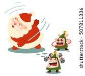 Santa Claus And Cute Elves...