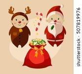santa and reindeer cartoon... | Shutterstock .eps vector #507819976