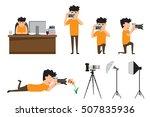 Set Of Cartoon Photographer In...