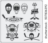 set of ice hockey labels ... | Shutterstock .eps vector #507836392