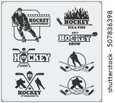 set of ice hockey labels ... | Shutterstock .eps vector #507836398