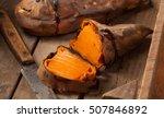oven baked sweet potatoes on... | Shutterstock . vector #507846892