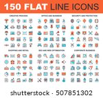 vector set of 150 flat line web ... | Shutterstock .eps vector #507851302