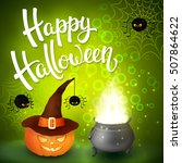 halloween greeting card with... | Shutterstock . vector #507864622