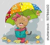 Cute Cartoon Bear With Umbrell...
