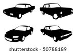 Stock vector set of four car in silhouette form in black and white 50788189