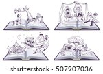 set open book illustration tale ... | Shutterstock .eps vector #507907036