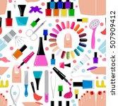 manicure  nail salon. seamless...   Shutterstock .eps vector #507909412