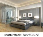 modern hotel room with large... | Shutterstock . vector #507913072