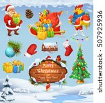 santa claus and christmas tree. ... | Shutterstock .eps vector #507925936