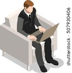 isometric business office flat...