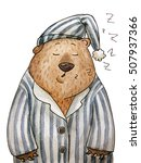 hand drawn cute sleepy bear in... | Shutterstock . vector #507937366
