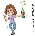 drunk cartoon woman  vector... | Shutterstock .eps vector #507946345