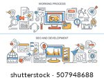 flat vector banners. working... | Shutterstock .eps vector #507948688