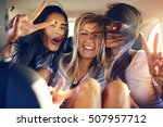 three beautiful female friends... | Shutterstock . vector #507957712