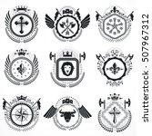vector emblems  vintage... | Shutterstock .eps vector #507967312