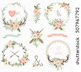 tribal floral wreath | Shutterstock .eps vector #507967792