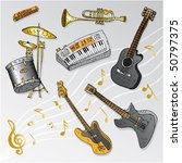 musical instruments drawing | Shutterstock .eps vector #50797375