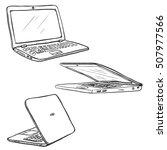 vector set of sketch laptops | Shutterstock .eps vector #507977566
