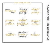 thanksgiving gold text set   be ... | Shutterstock .eps vector #507980992