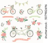 hand drawn floral bike | Shutterstock .eps vector #507982696
