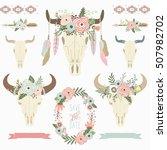 floral tribal bison skull...   Shutterstock .eps vector #507982702