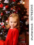 cute little girl in red dress... | Shutterstock . vector #507983545