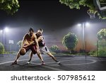 basketball players in action on ... | Shutterstock . vector #507985612