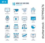 mono flat line icons set of seo ... | Shutterstock .eps vector #507990676