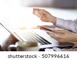 man using mobile payments with ... | Shutterstock . vector #507996616