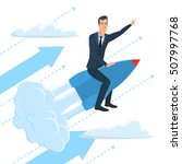 businessman flying on a rocket... | Shutterstock .eps vector #507997768