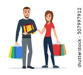 man and woman with gifts and... | Shutterstock .eps vector #507997912