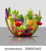 salad with fresh fruits and... | Shutterstock .eps vector #508002682