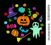 the halloween set pumpkin party ... | Shutterstock .eps vector #508004896