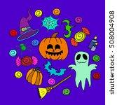 the halloween set pumpkin party ... | Shutterstock .eps vector #508004908