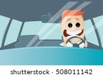 funny comic man driving a car   Shutterstock .eps vector #508011142