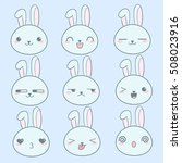 Stock vector vector cute kawai rabbits hares different expression muzzles bunnies in flat style angry 508023916