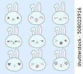 vector cute kawai rabbits hares.... | Shutterstock .eps vector #508023916