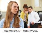 businesswoman being gossiped... | Shutterstock . vector #508029706