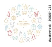 colorful christmas icons... | Shutterstock .eps vector #508054288