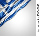 Greece Flag Of Silk With...